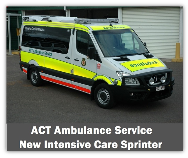 ACT Ambulance Intensive Care Paramedic Mercedes Sprinter- high visibility markings - Ambulance Visibility - www.ambulancevisibility.com - John Killeen
