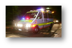 ACT Ambulance Intensive Care Paramedic Mercedes Sprinter at night - John Killeen - www.ambulancevisibility.com